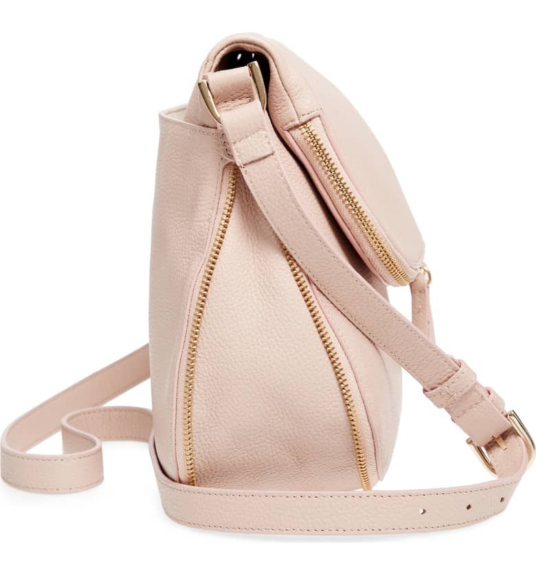 kara leather expandable cross body side view