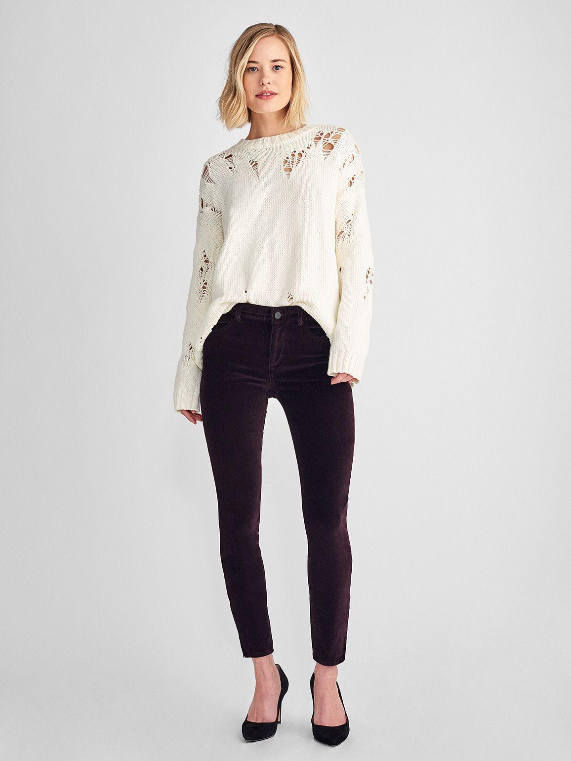 midrise velvet skinny jeans