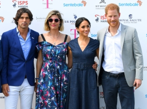 Nacho Figuares, wife Delfina Figueras, Meghan Duchess of Sussex and Prince Harry, arrive for the Sentebale Polo 2018 on July 26, 2018.