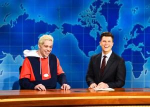 "Pete Davidson, Colin Jost during ""Weekend Update."""