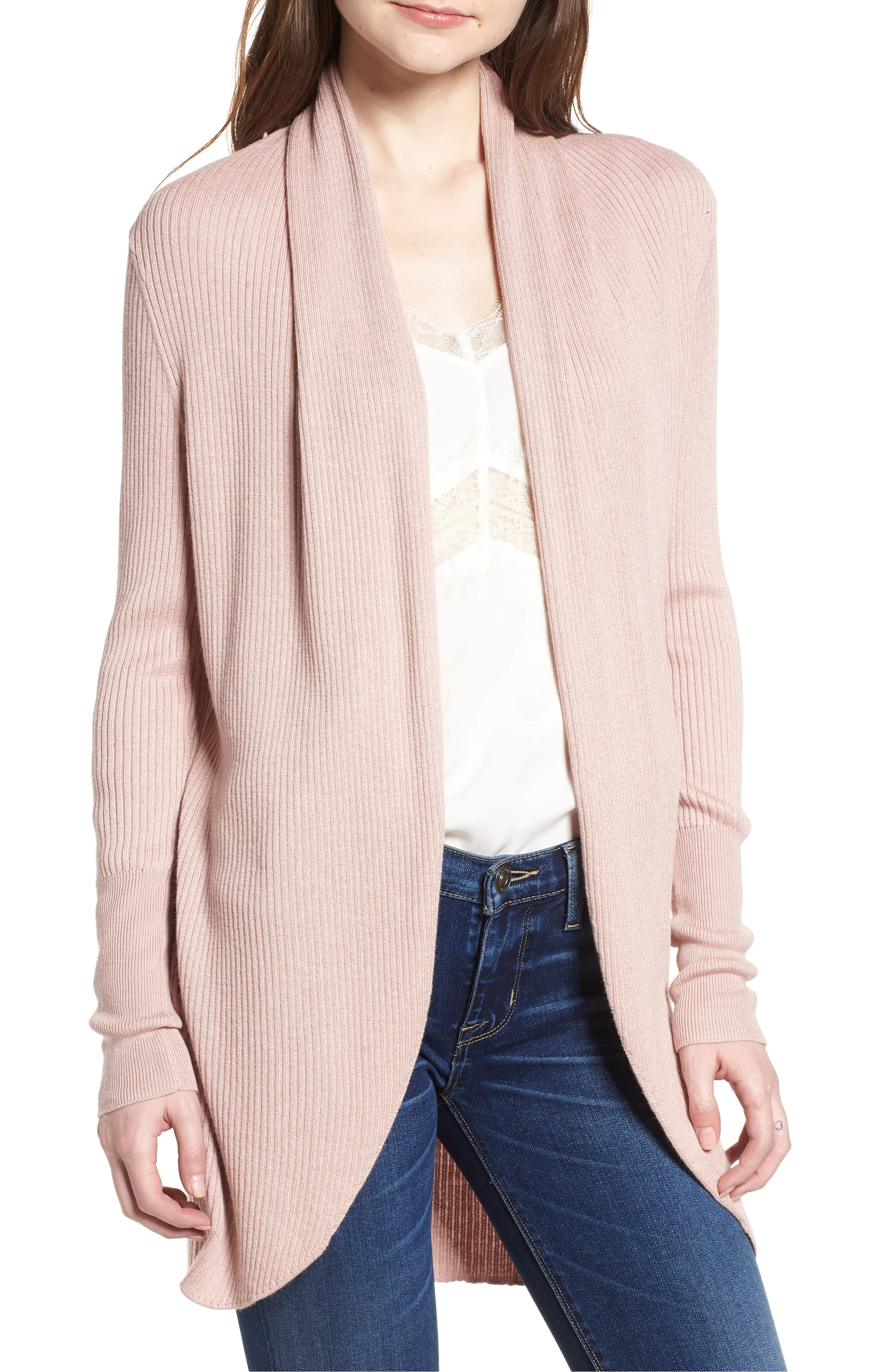 pink leith ribbed shawl cocoon sweater nordstrom