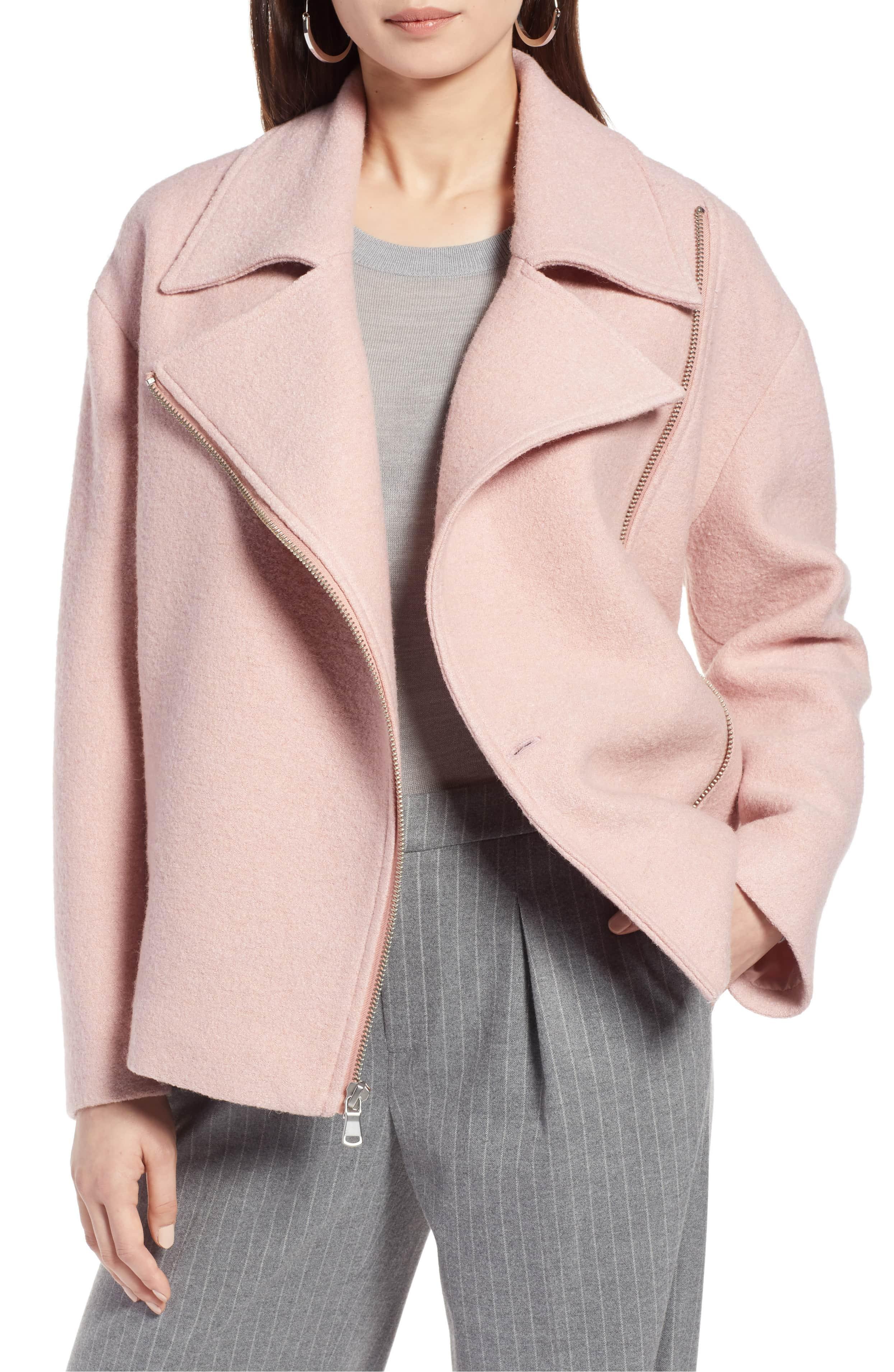 pink wool moto jacket