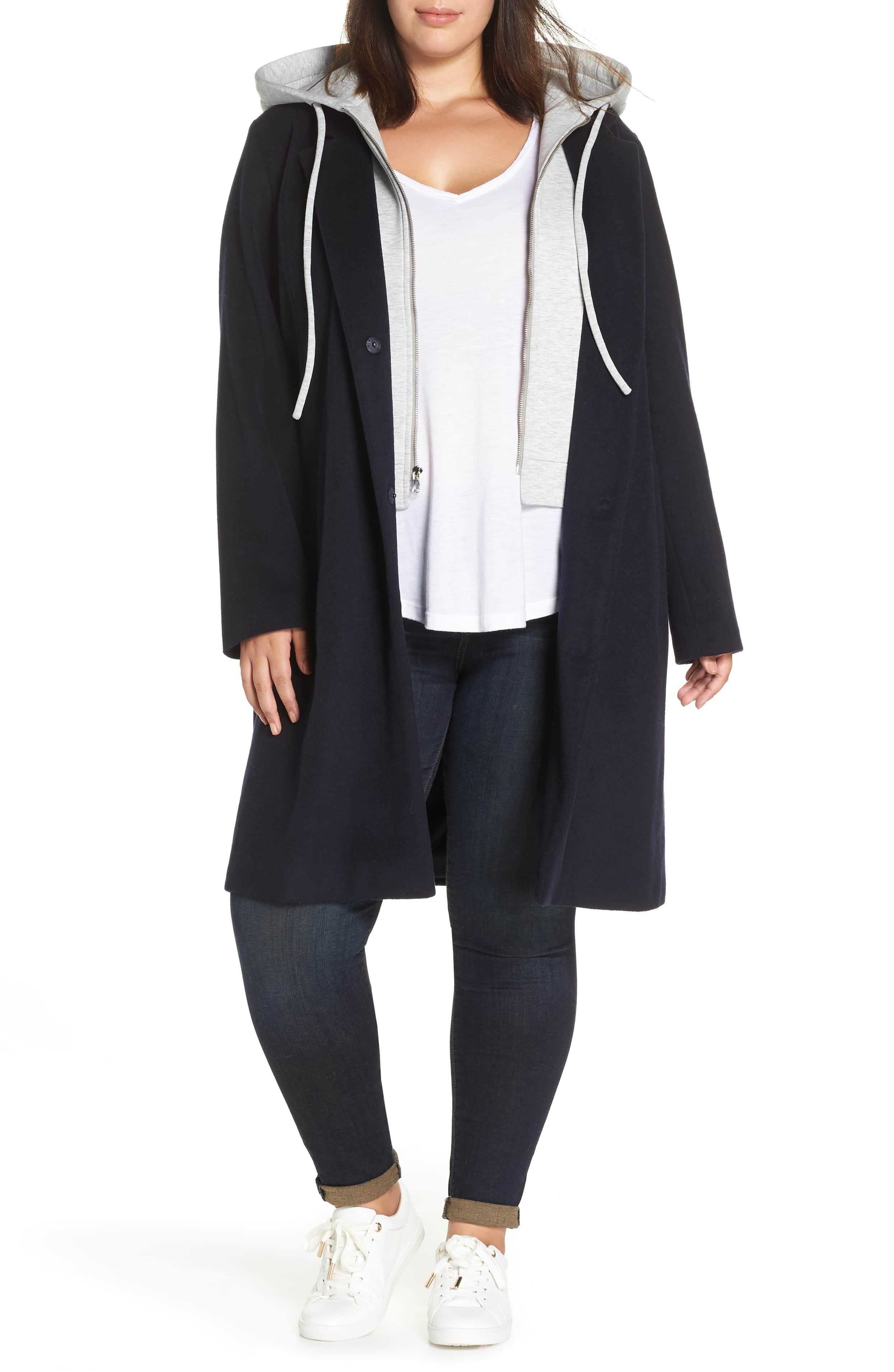 plus size rachel roy trench hoodie coat