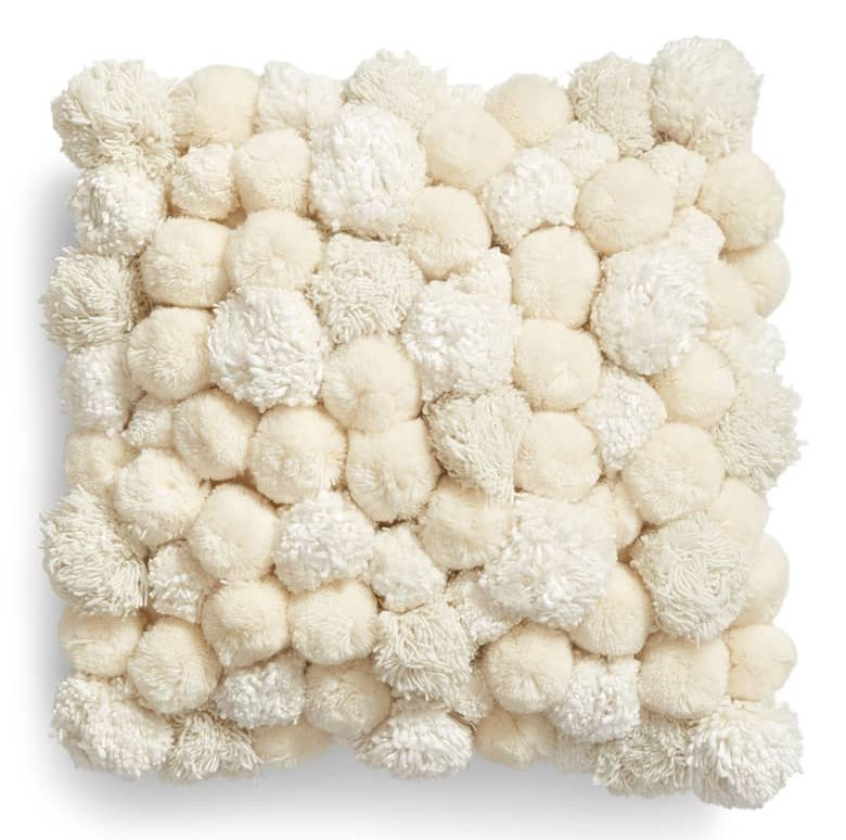 pom pom accent pillow