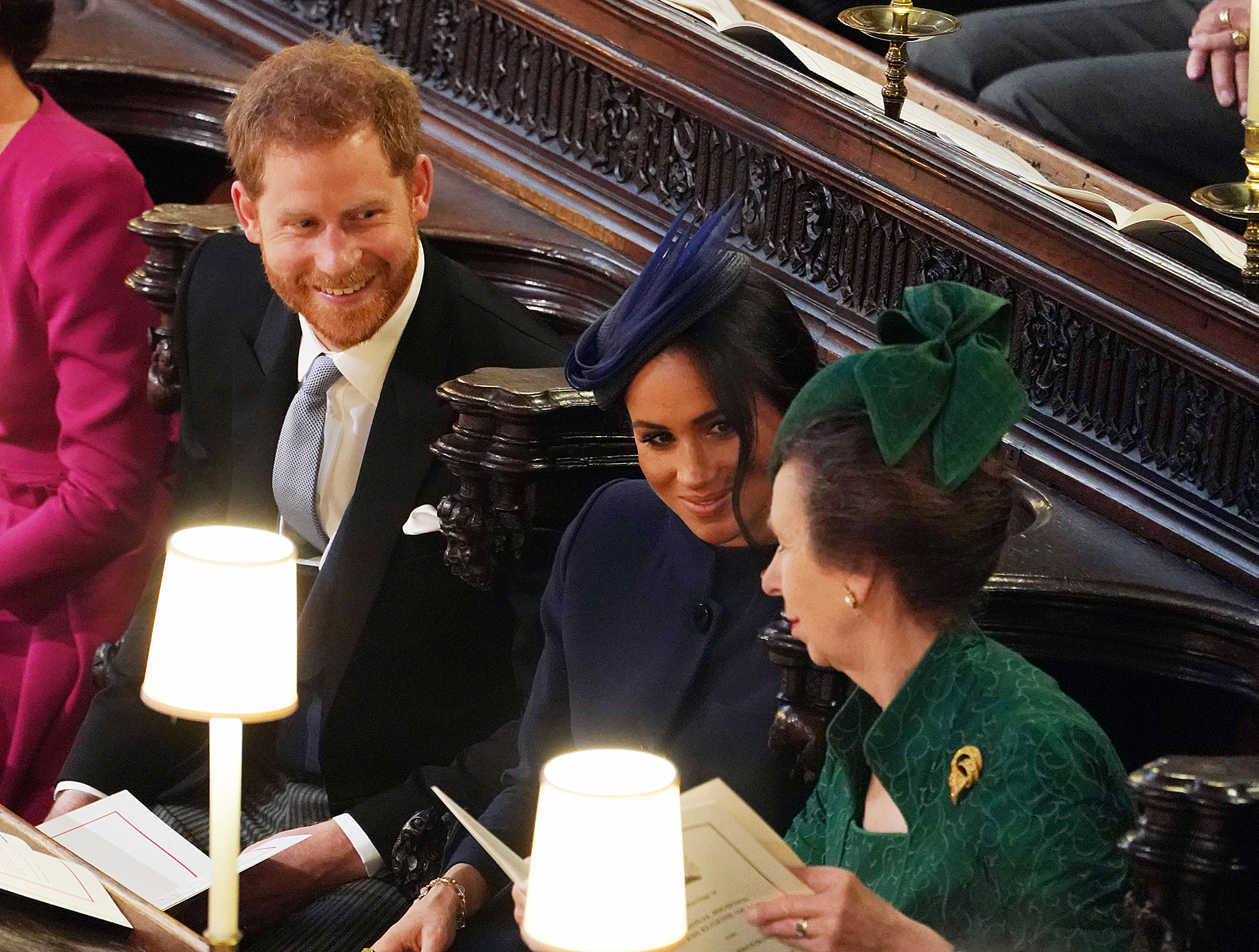 Prince Harry Duchess Meghan Pregnant Royal Family Congratulates - Prince Harry, Duchess Meghan and Princess Anne attend the wedding of Princess Eugenie of York and Mr. Jack Brooksbank at St. George's Chapel on October 12, 2018 in Windsor, England.