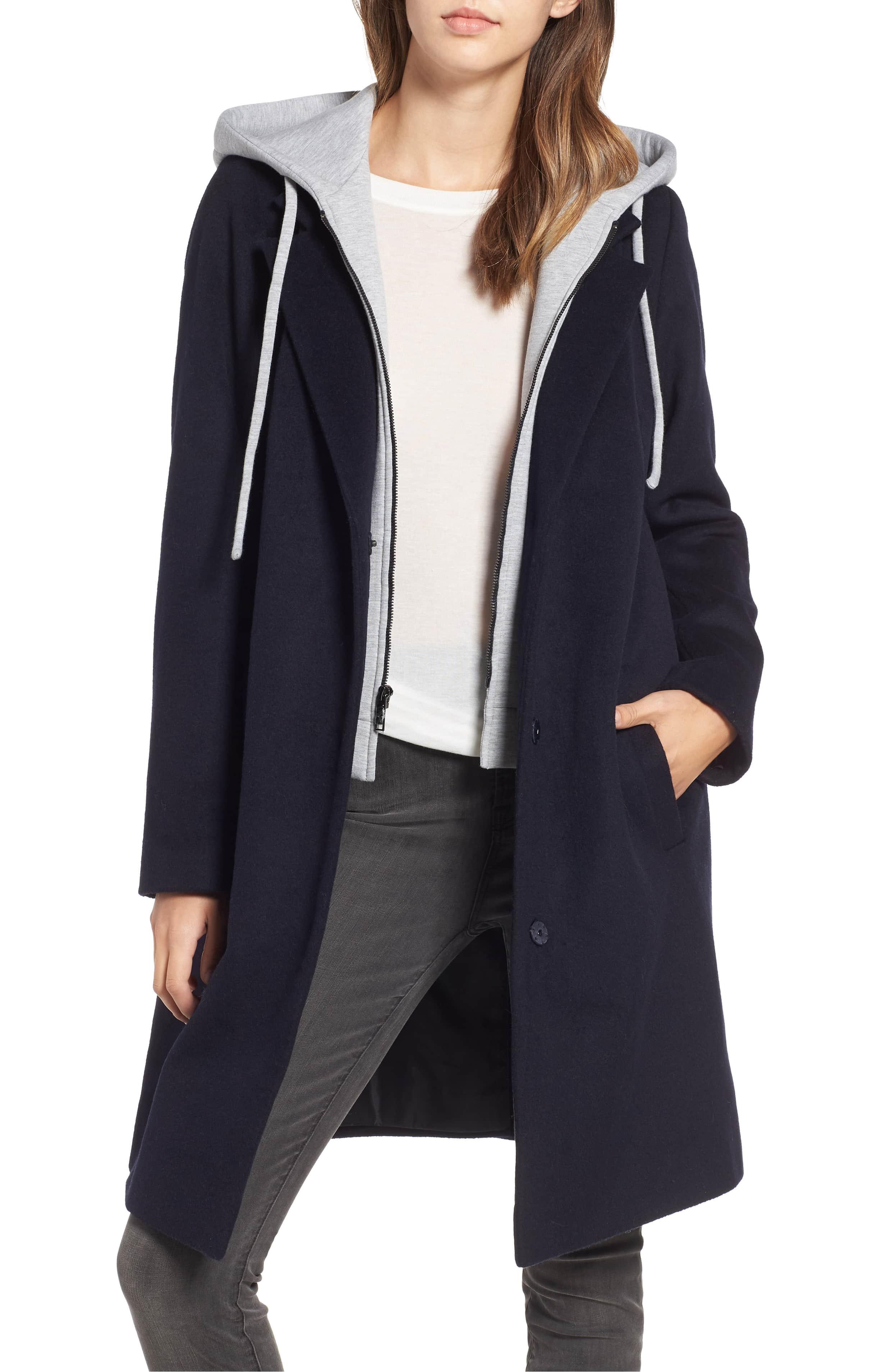 rachel roy trench coat hoodie inset