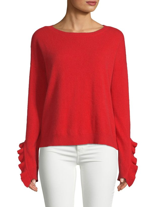 red cashmere ruffle sweater