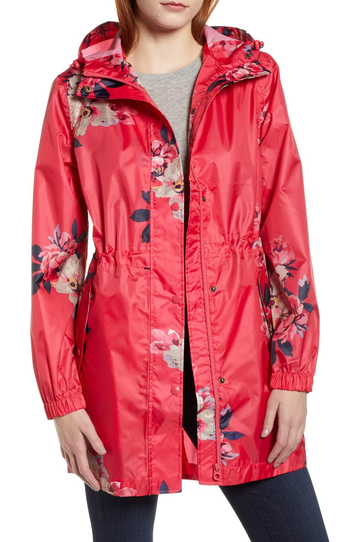 red floral jacket raincoat