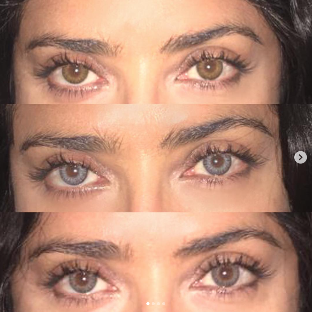 salma hayek's colored contacts are serving major halloween inspo on zig