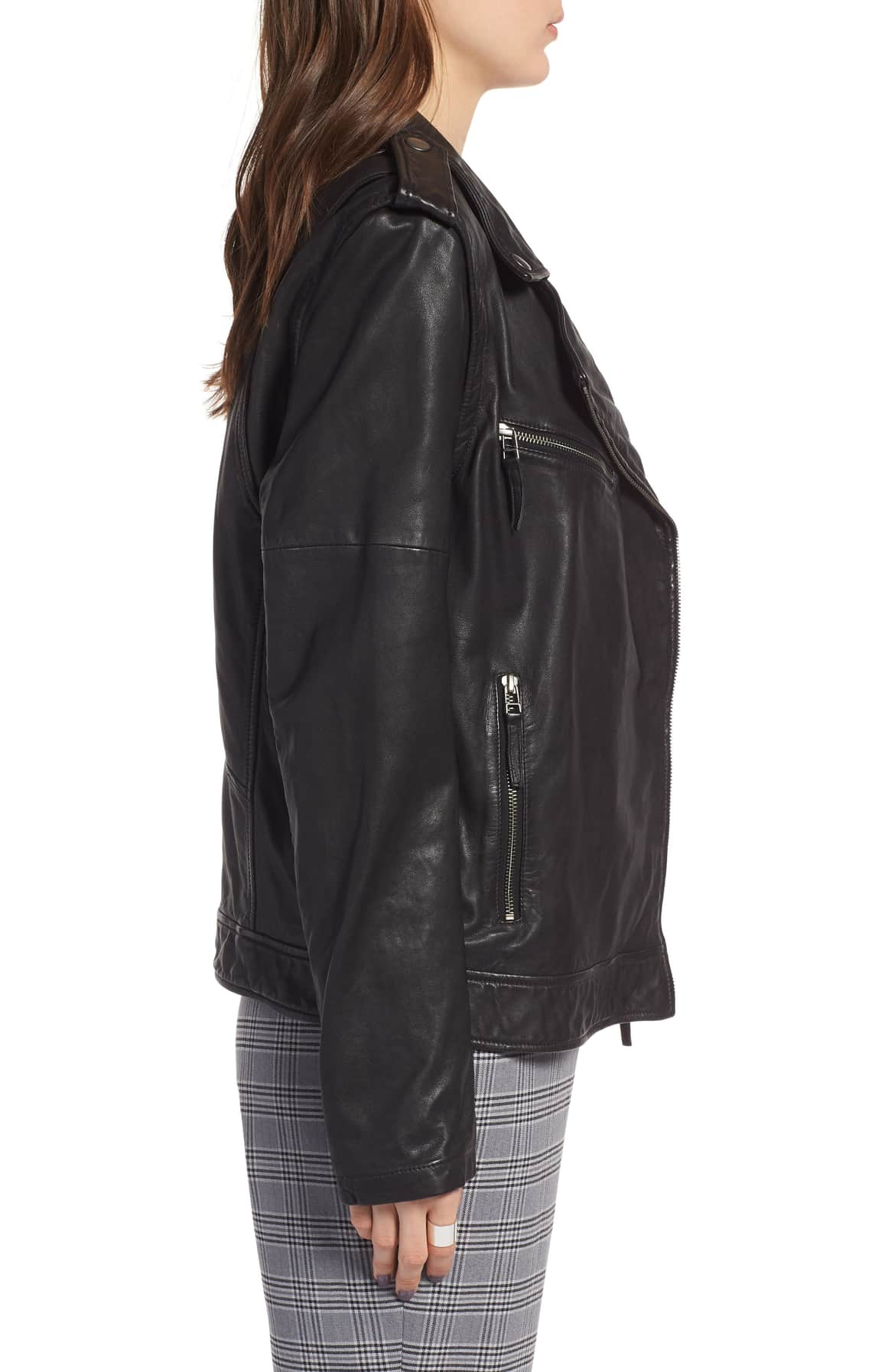 convertible leather jacket nordstrom