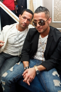 """Television personality Mike """"the Situation"""" Sorrentino (R) and brother Marc Sorrentino (L)"""