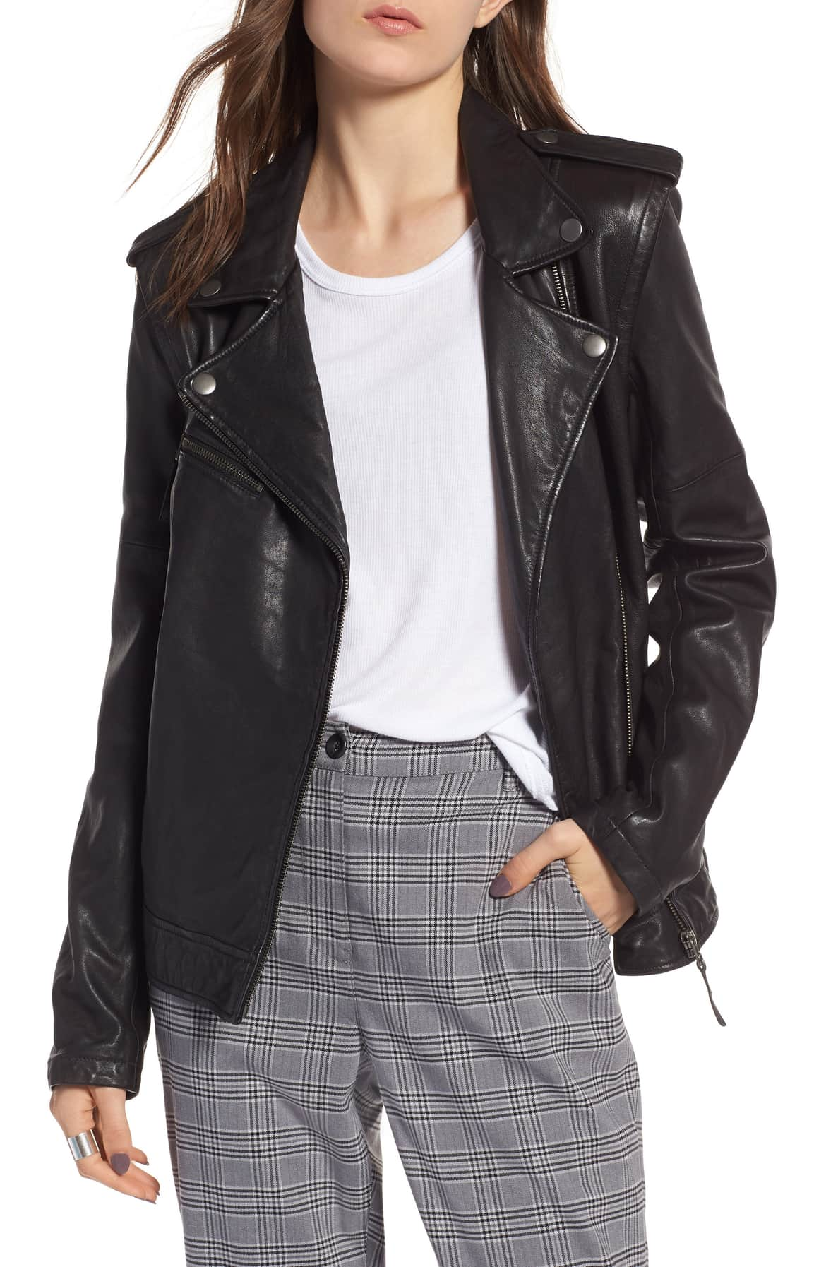 treasure and bond convertible leather jacket
