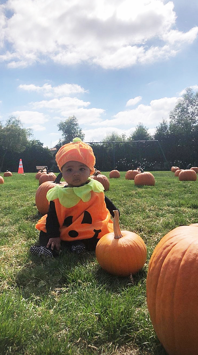 "True Thompson Pumpkin Costume Pumpkin Picking - Kardashian dressed her daughter up as a pumpkin while they went pumpkin picking on October 14, 2018. ""I couldn't resist!"" she captioned the Instagram Story."