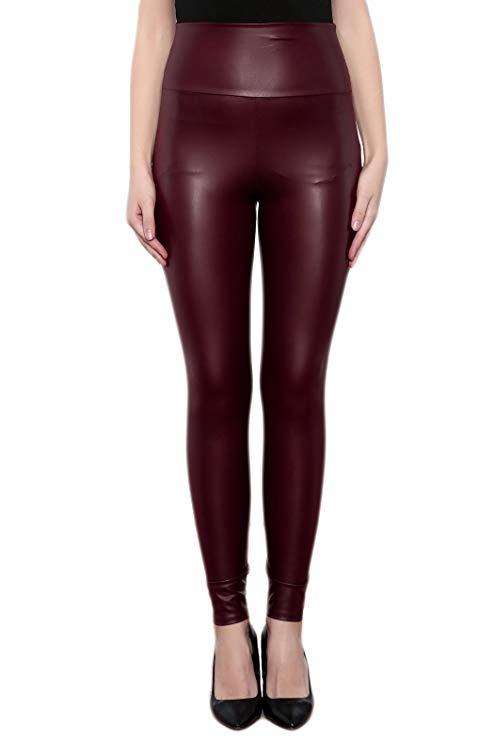 wine faux leather leggings