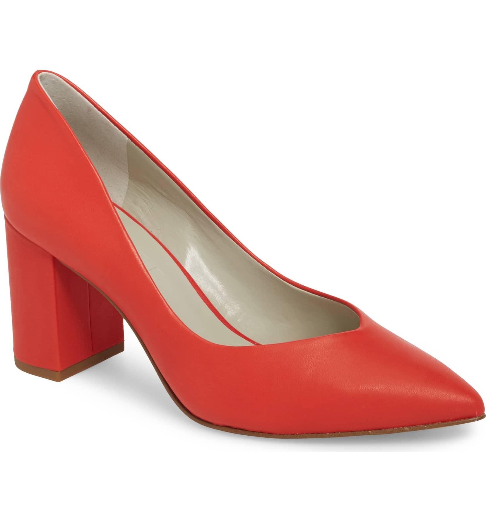 red 1 state saffy block heel pump