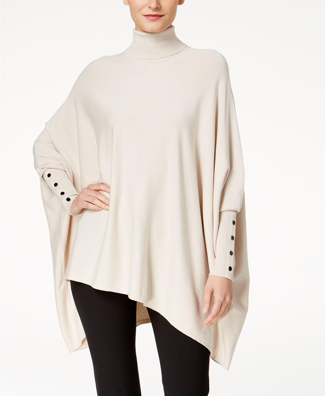 Alfani Turtleneck Poncho Sweater Macys