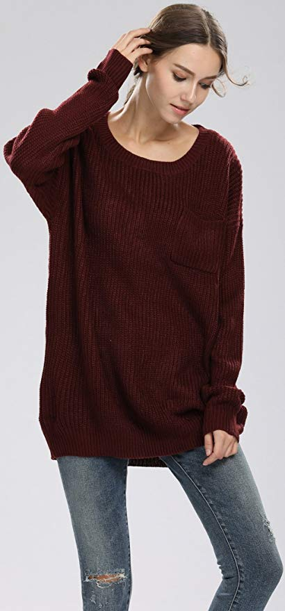 Alinfu Women's Casual Unbalanced Crew Neck Knit Sweater Loose Pullover Cardigan