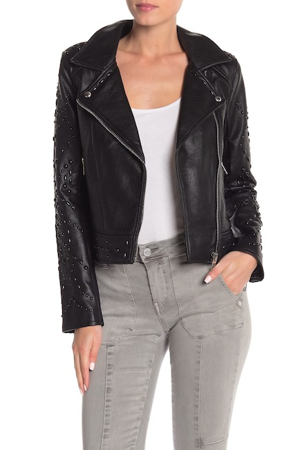 BLANKNYC Denim Studded Faux Leather Jacket
