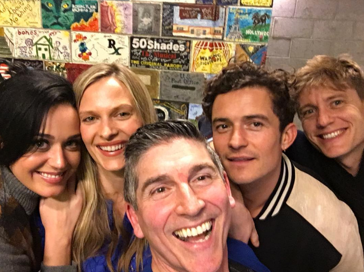 Backstage-at-The-Absolute-Brightness-of-Leonard-Pelkey katy perry orlando bloom - Perry and Bloom saw a production of The Absolute Brightness of Leonard Pelkey in Culver City, California, and posed for a photo backstage with the show's star James Lecesne .