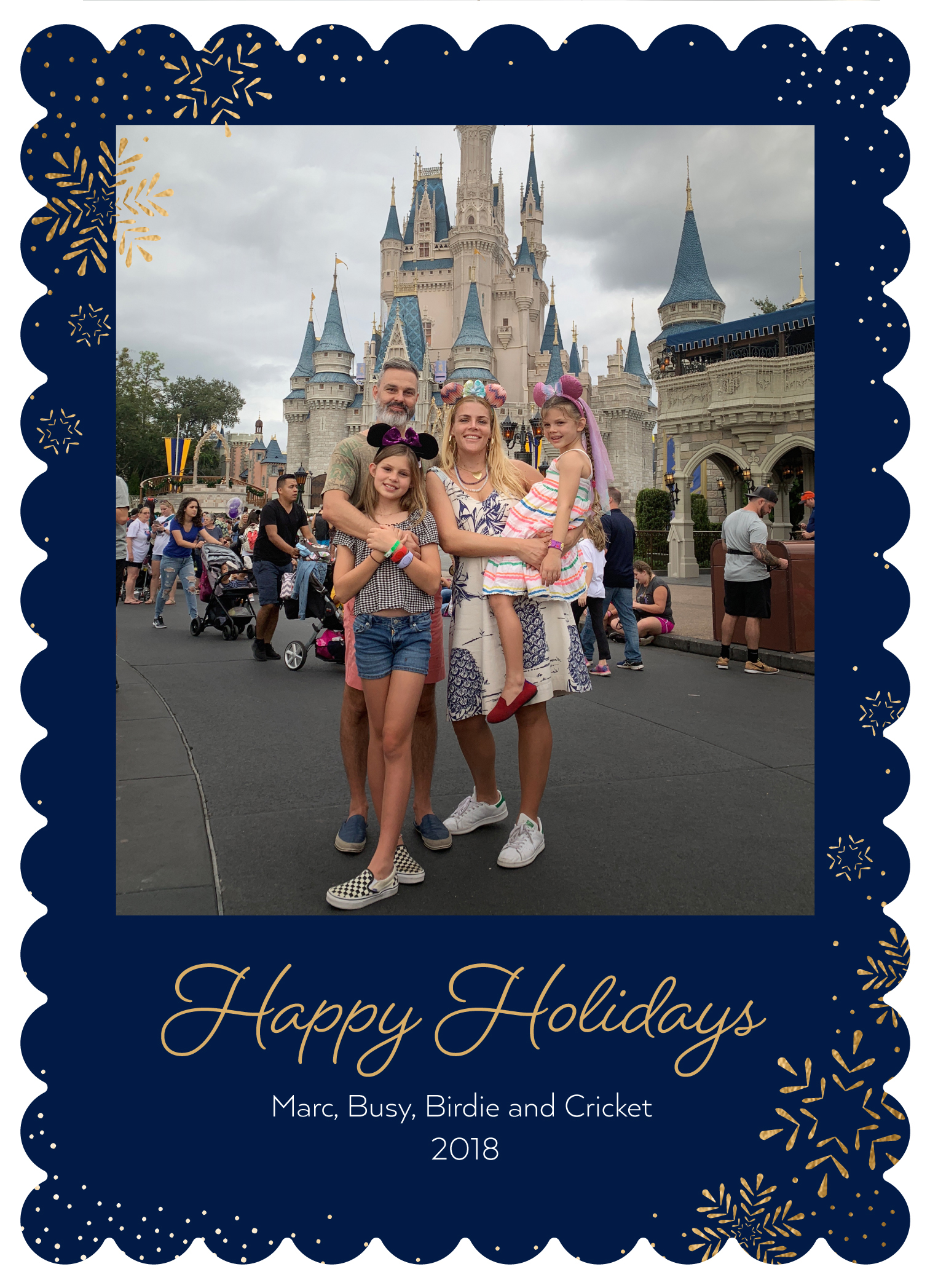 Busy-Philipps-holiday-card - The Busy Tonight host shared a sweet picture with her husband, Marc Silverstein, and daughters Birdie, 10, and Cricket, 5, at the happiest place on earth.