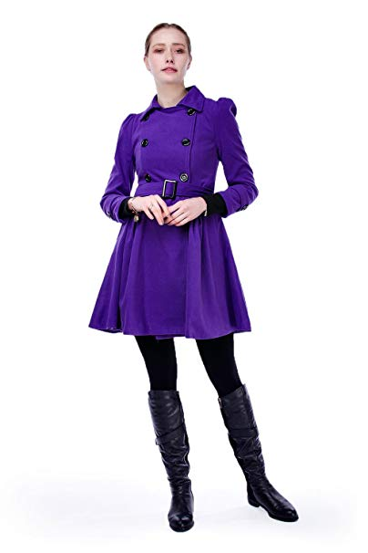 ForeMode Women Swing Double Breasted Wool Pea Coat with Belt Buckle S