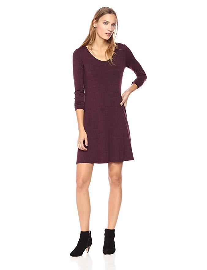 0005ac3cfec Jersey Long-Sleeve V-Neck Dress Amazon. See It  Grab the Daily Ritual  Women s ...