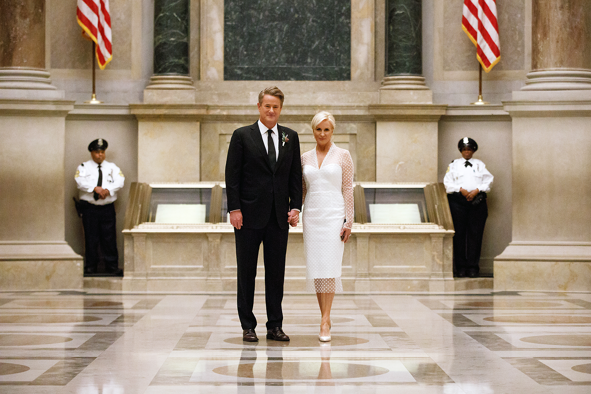 Joe Scarborough Mika Brzezinski Married - The Morning Joe cohosts married in an intimate ceremony at the National Archives in Washington D.C. on November 24. The pair, who got engaged in France in May 2017, were wed by Representative Elijah Cummings of Maryland, who officiated the ceremony written by the bride and groom.