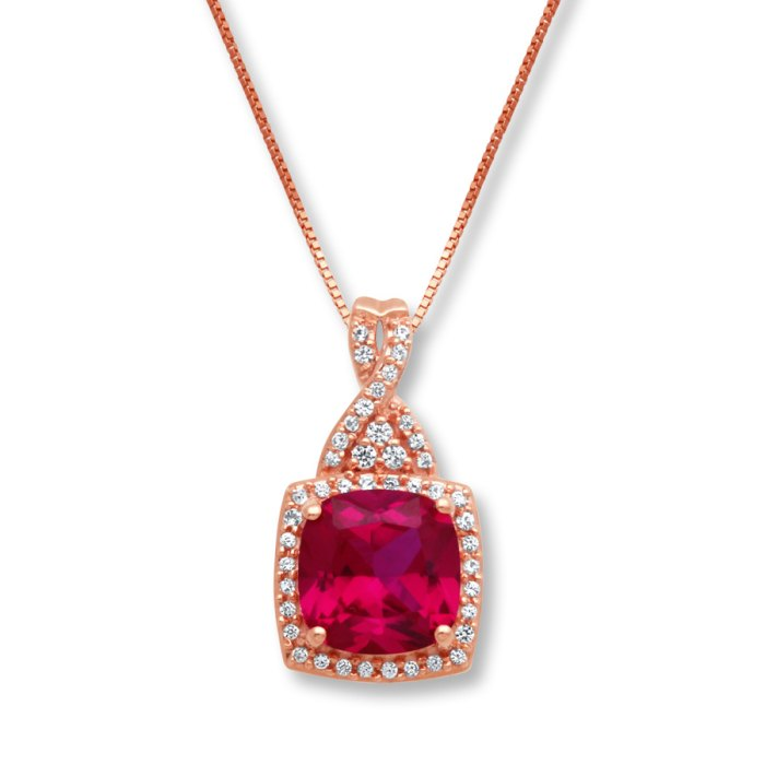 Kay Jeweler's Lab-Created Ruby & Sapphire Necklace 10K Rose Gold