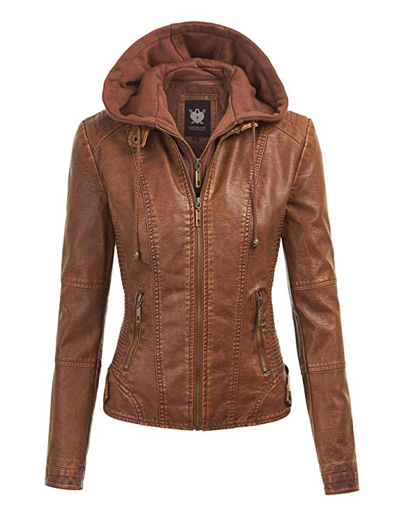 Lock and Love LL Women's Hooded Faux Leather