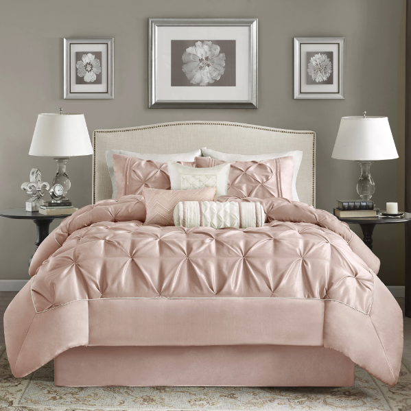 Madison Park Vivian Blush Pieced Pleated 7 Pieces Comforter Set - California King