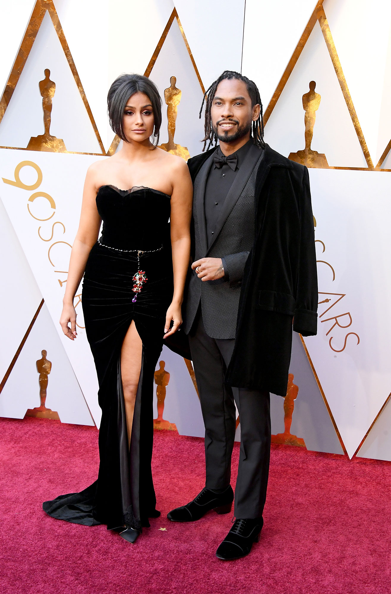 Nazanin Mandi (L) and Miguel - The R&B singer and the actress got married on November 25. Miguel has known Mandi since he was 18, and they went on their first date in 2005.