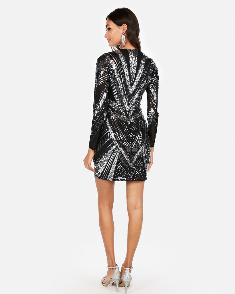 Patterned Sequin Minidress
