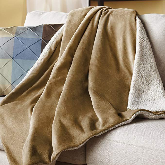 Sunbeam Reversible Sherpa:RoyalMink Heated Throw Blanket