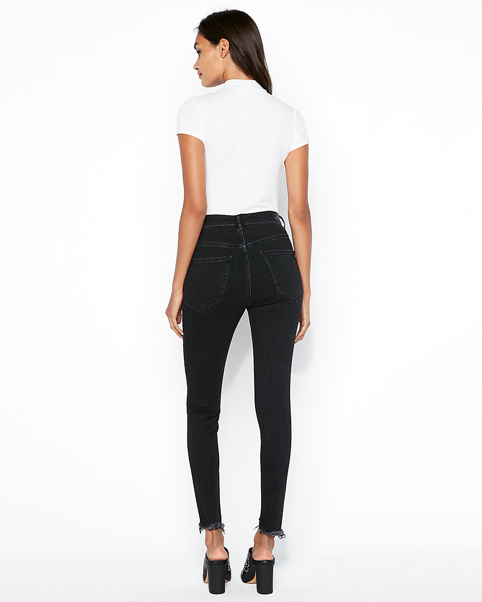 Super High Waisted Washed Black Denim Perfect Ankle Leggings