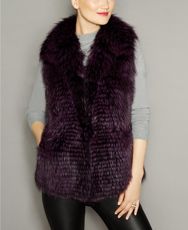 The Fur Vault Fox Fur Vest purple and blue