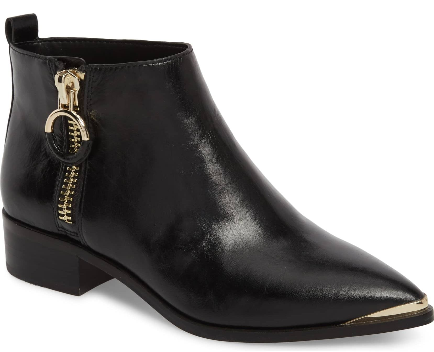 black ankle boot gold hardware