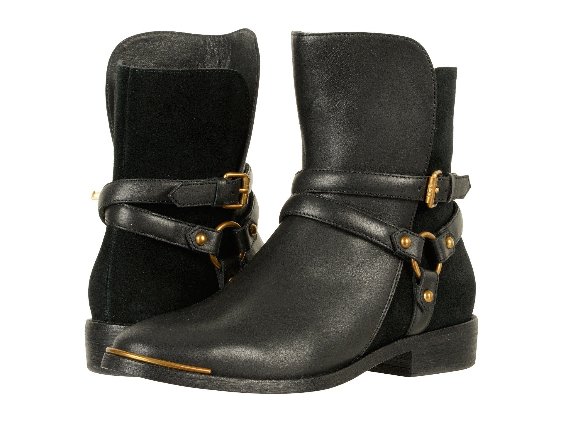 black ankle boots uggs moto