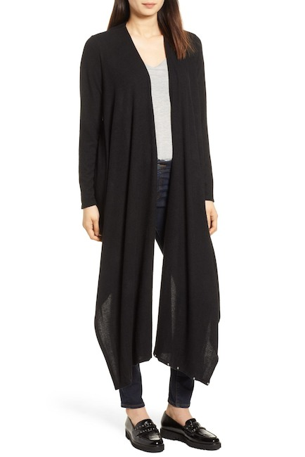 black convertible wrap cardigan