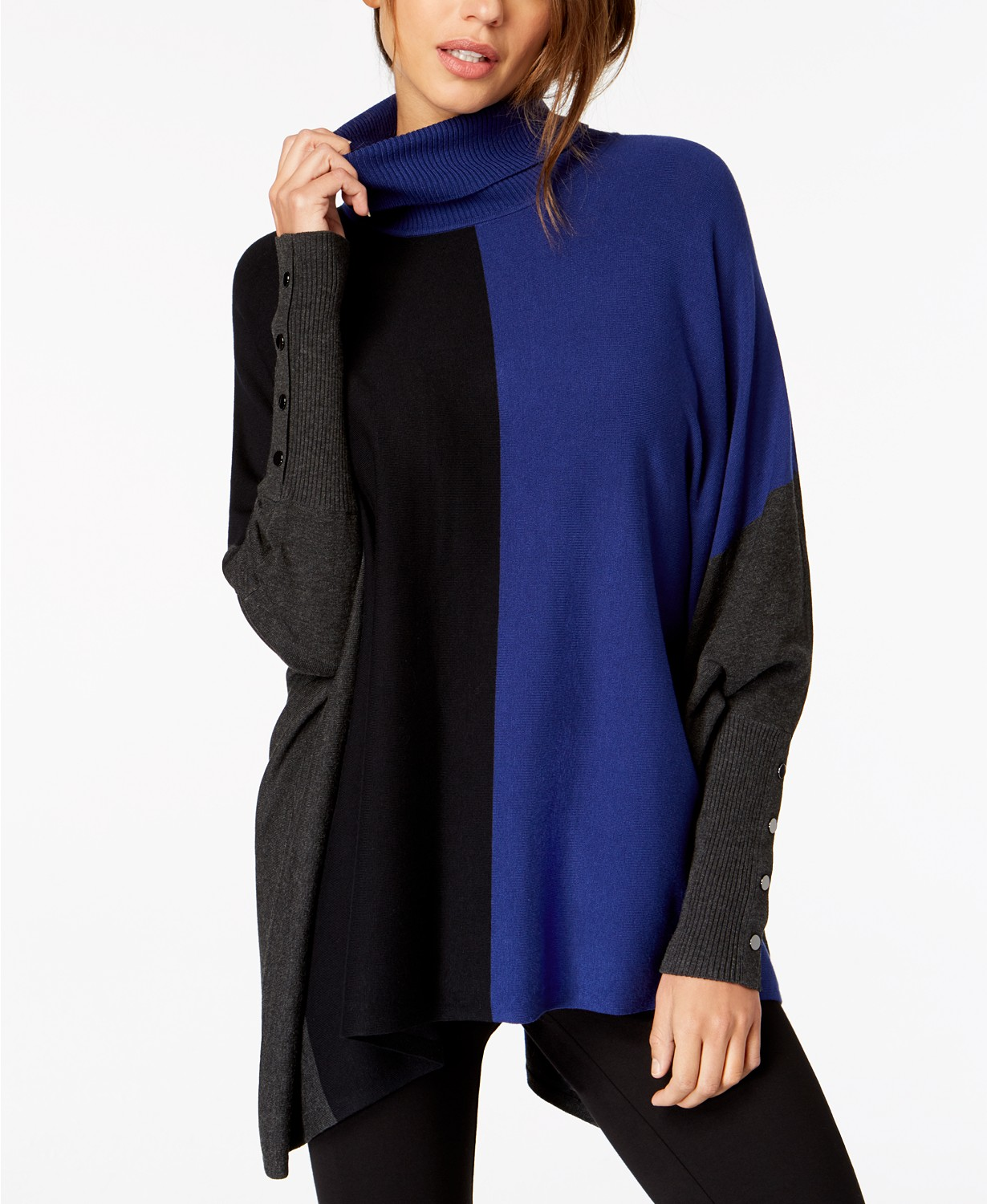 black gray and blue poncho sweater