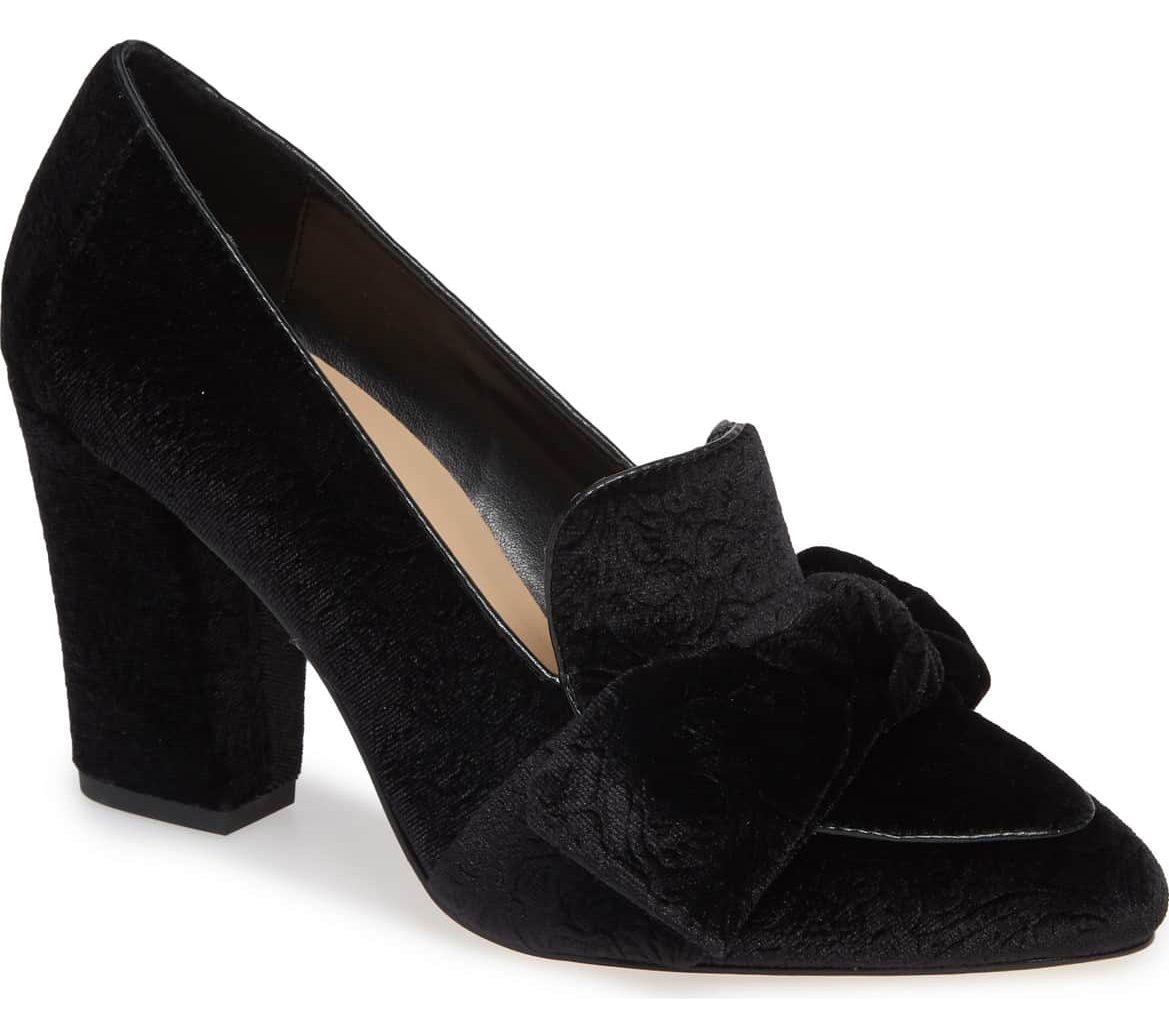 black velvet pumps bow top