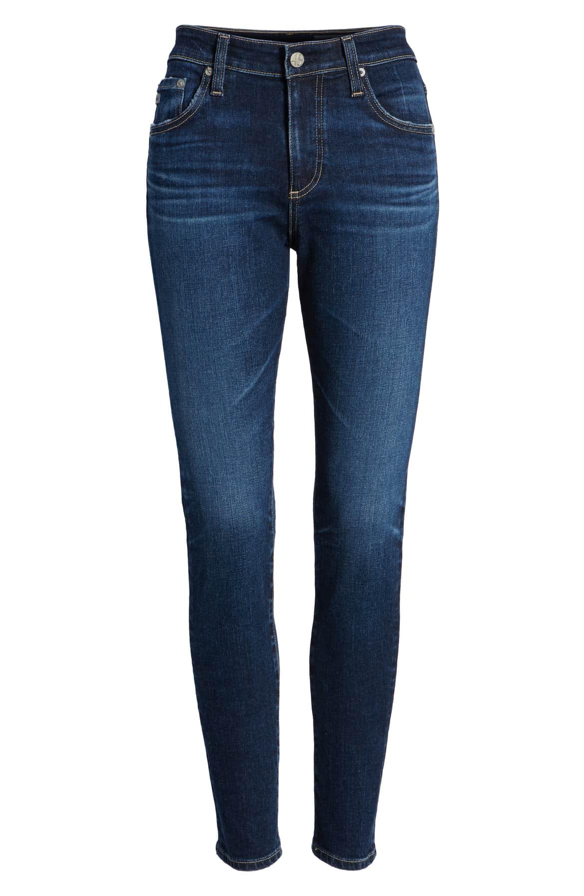blue skinny jeans ag brand