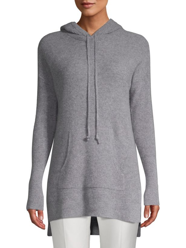 cashmere waffle knit hoodie