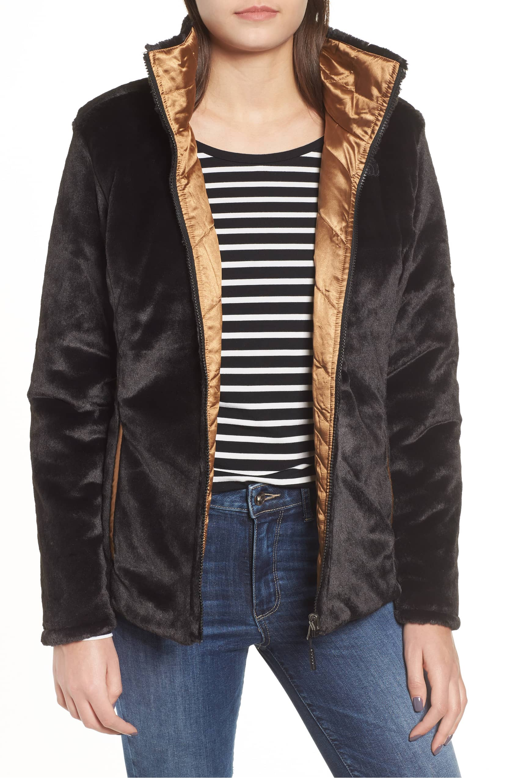 copper and black fleece jacket northface