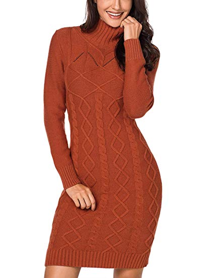 dark orange sweater dress