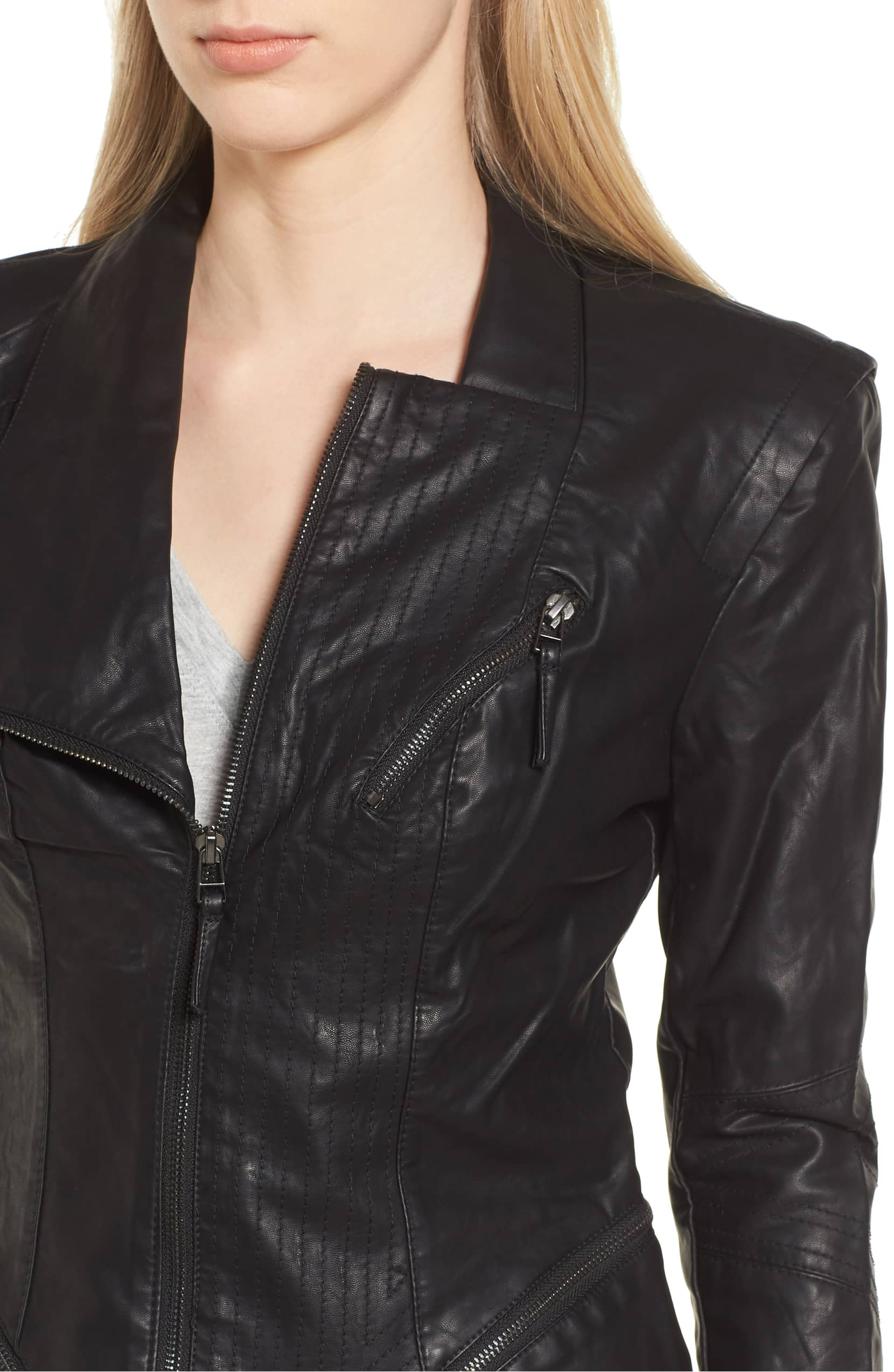faux leather jacket blanknyc preforated stitching