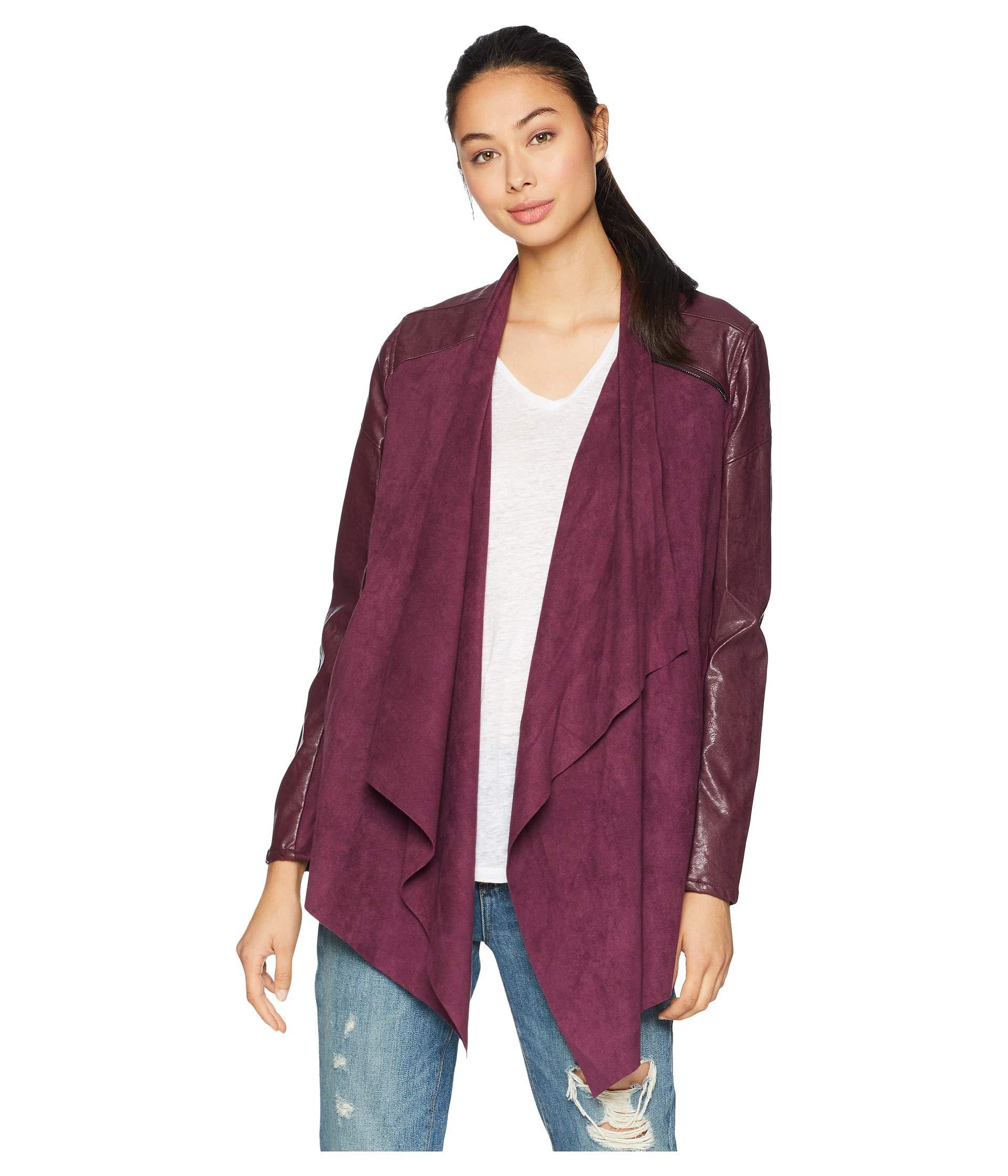 faux suede drape front jacket wine