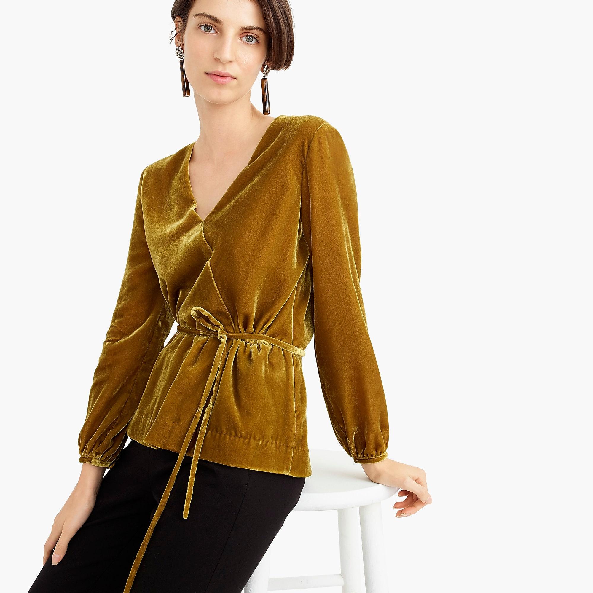 gold velvet faux wrap top in velvet j.crew