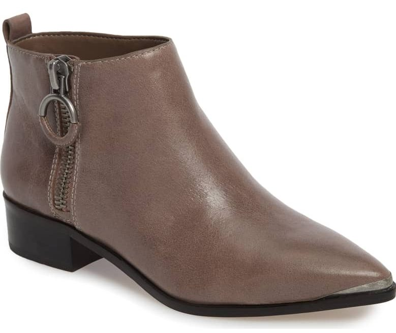 gray pewter ankle boot gold hardware