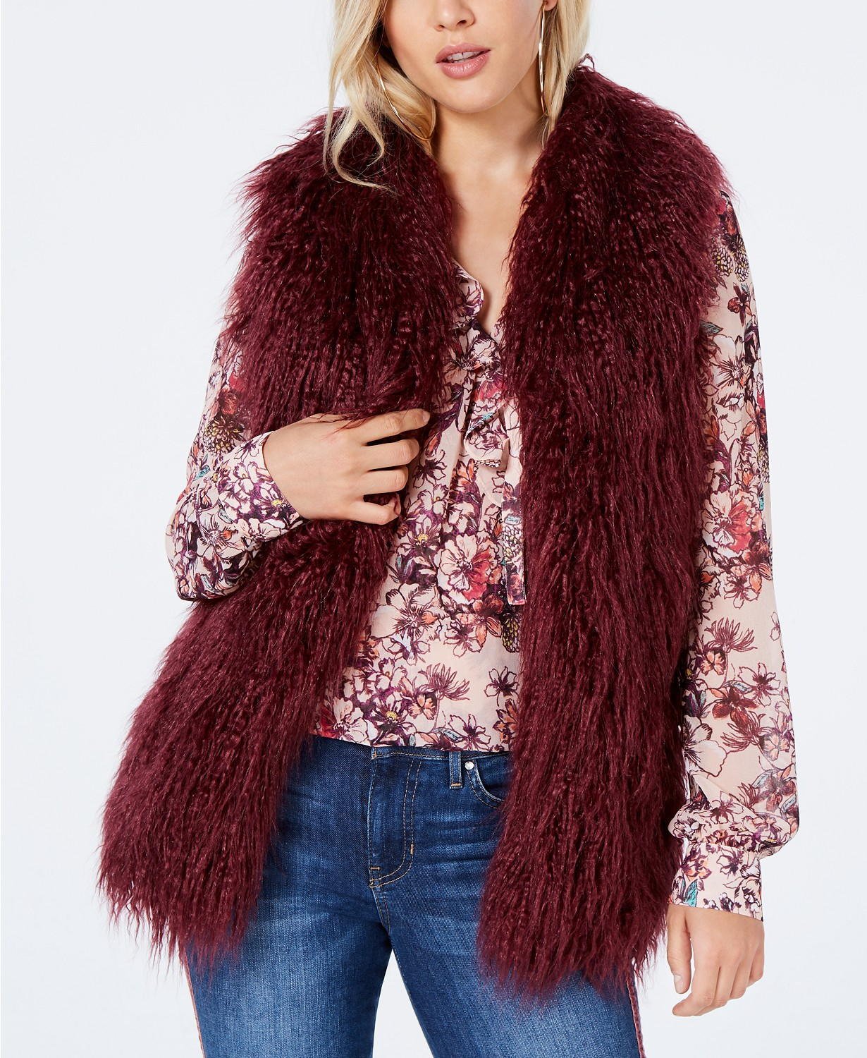 guess jacquee sleeveless faux fur vest