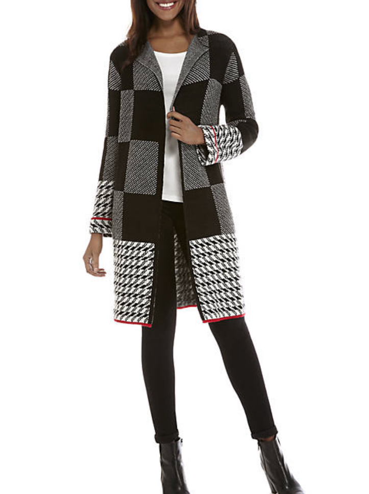 houndstooth print long cardigan